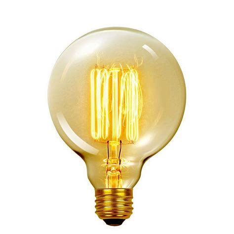 Vanity Light Bulb Globe Electric 60 Watt Incandescent G40 E26 Vintage Edison Vanity Tungsten Filament Light Bulb
