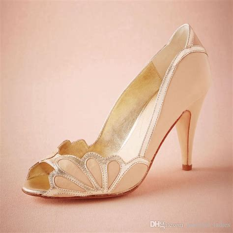 Blush Wedge Wedding Shoes by Blush Wedding Shoes Scallop Heel Peep Toe Bridal Sandal