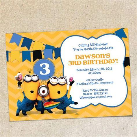 Minion Card Template by Minions Chevron Bunting Invitation Template Instant