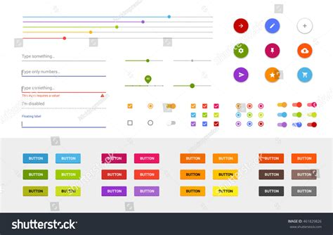 material design ui elements material design ui set modern ui stock vector 461829826