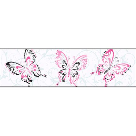 Border Sticker Blue And Brown Line white butterfly scroll border
