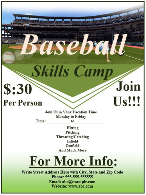 baseball flyer template free template downloads