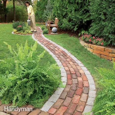Patio Brick Laying Guides Build A Brick Pathway In The Garden Family Handyman