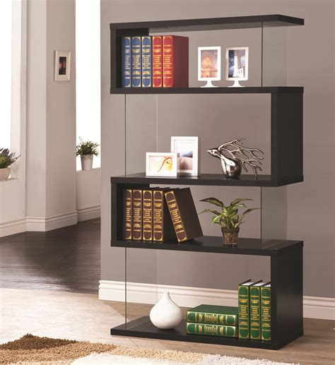coaster bookcases 800340 asymmetrical snaking bookshelf