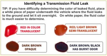 transmission fluid color chart find out what type of auto fluid leak is on the ground