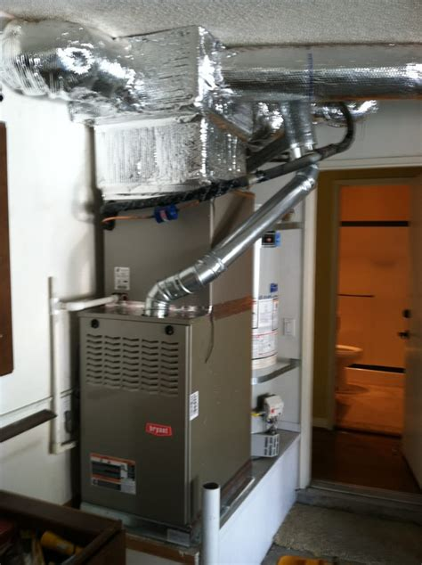 House Furnace In Garage by Up Flow Furnace And Coil Installed In Garage Yelp