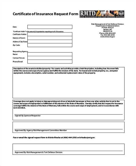 Certificate Form Templates Insurance Request For Template