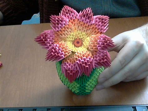 Origami 3d Flower - how to make 3d origami rainbow flower