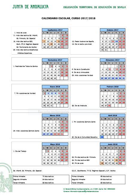 Calendario 2018 Granada Calendario Escolar Sevilla Curso 2017 2018 Papanoara