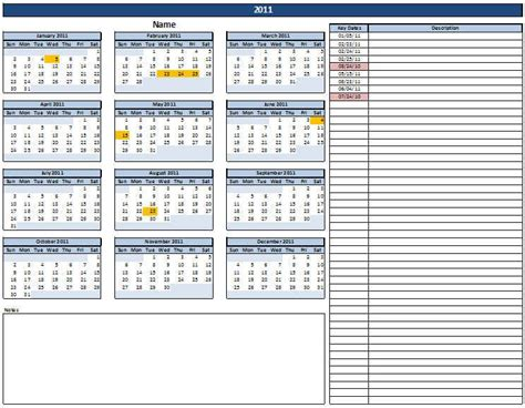 Calendar Dates Calendar With Key Dates Excel In Templates Included