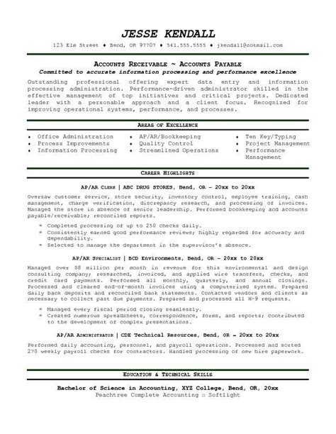 Ar Specialist Sle Resume by Accounts Payable Resume Unforgettable Accounts Payable Specialist Resume Exles Account