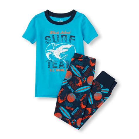 Boy Set Dino Surf boys sleeve block island surf team shark top and