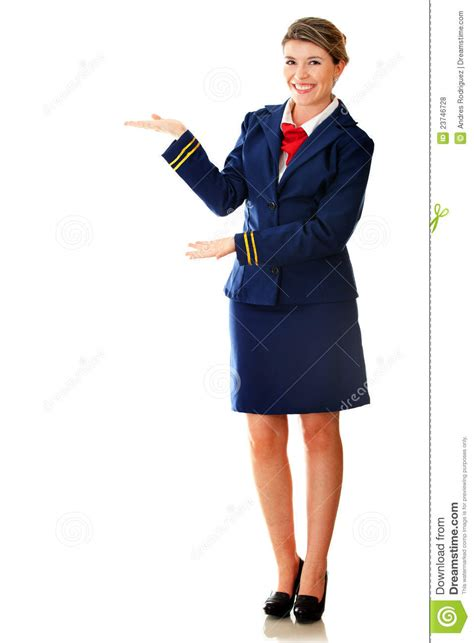 United Airlines Stock by Welcoming Flight Attendant Royalty Free Stock Photos