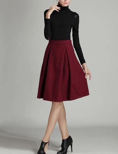 Tie Waist Pleated Plain Midi Skirt a line high waisted skirt fashion skirts