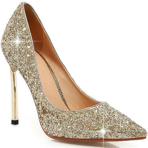 cheap gold high heel shoes get cheap silver glitter pumps aliexpress