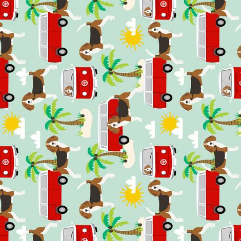 Doggie From Tree Hippyshopper by Beagle Hippie Palm Trees Fabric