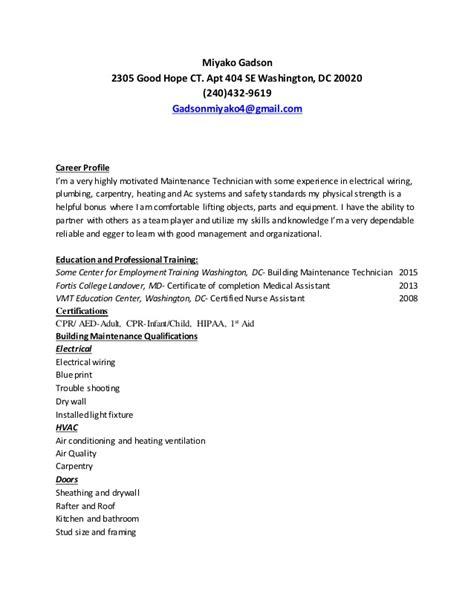 Building A Great Resume by Miyako Building Maintenance Resume 1