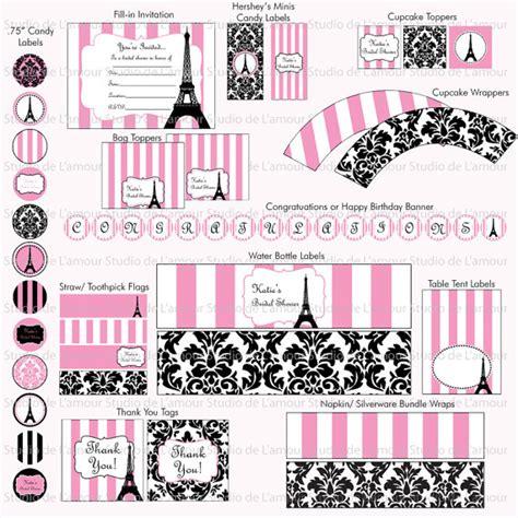 free printable paris party decorations printable paris theme diy party kit birthdays bridal showers