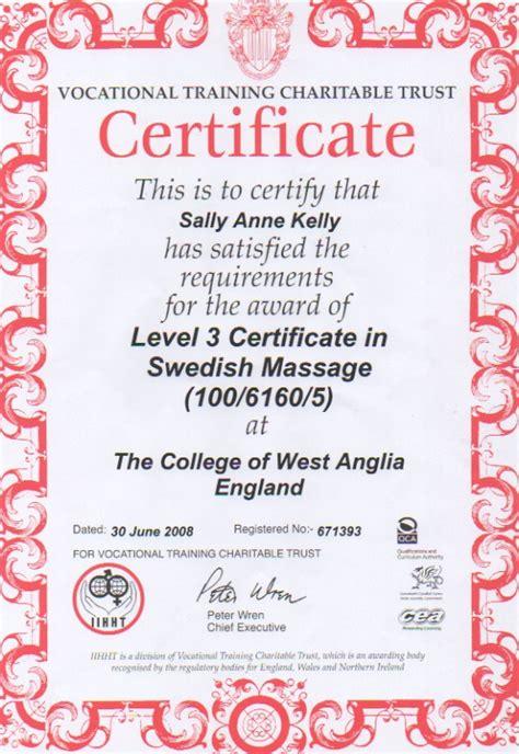 qualifications sally kelly massage therapist