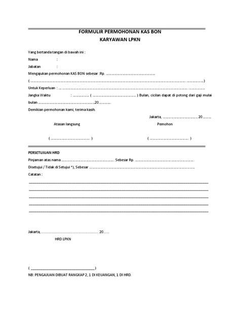format excel cuti karyawan formulir permohonan kas bon