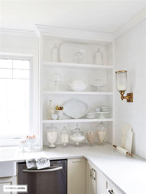 tips for stylishly stocking that open kitchen shelving open kitchen shelving rustic open kitchen shelves tips