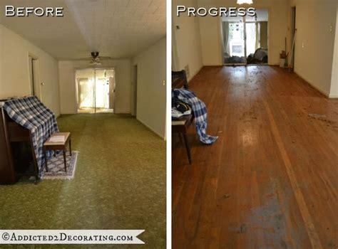 goodbye green carpet hello original hardwood floors