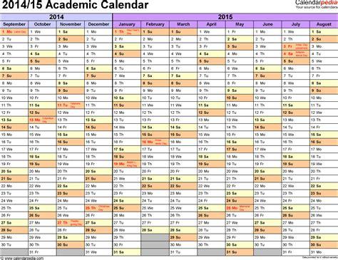 2014 15 calendar template academic calendars 2014 2015 as free printable excel templates
