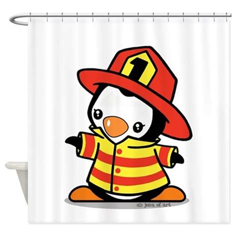 firefighter shower curtain firefighter penguin shower curtain by justjoani