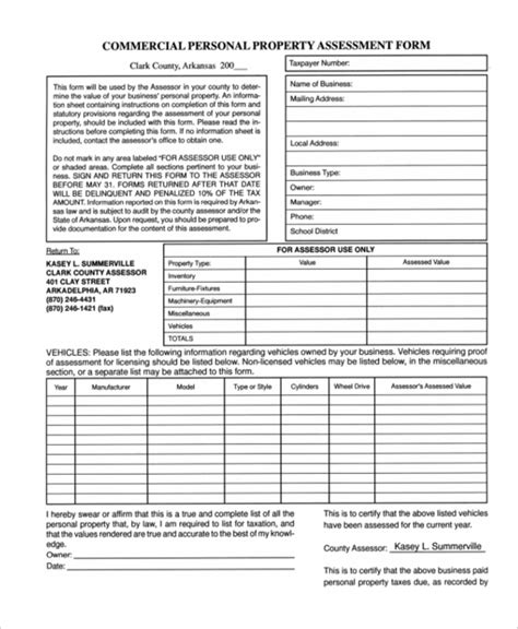 Personal Property Tax Records Sle Tax Assessment 47 Assessment Form Exles Free