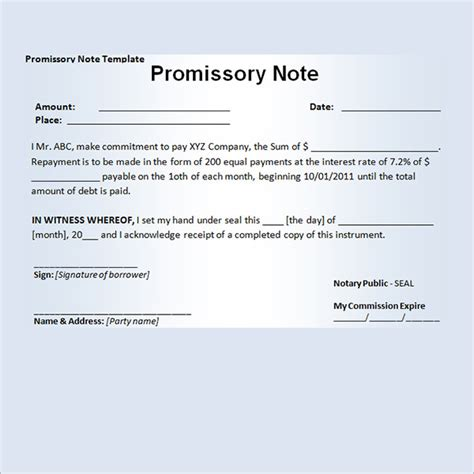 promissory note template free promissory note exle free printable documents