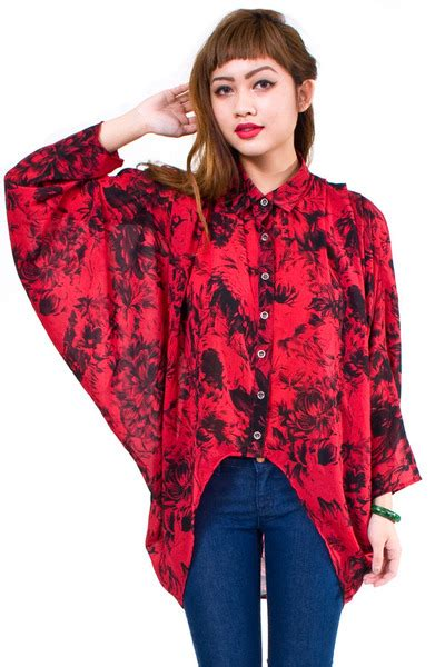 Ema Blouse 3 Ruby ruby minkpink blouses quot black floral sleeve batwing blouse quot by numbera chictopia