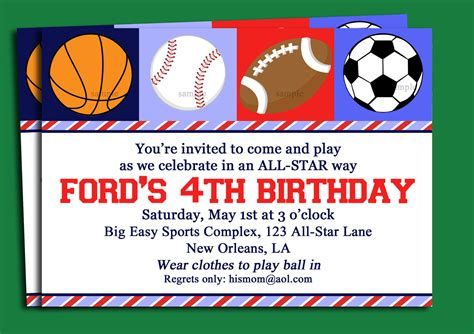 sports themed birthday invitations free printable sport themed birthday invitation card for