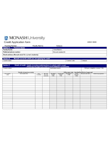 Credit Recognition Application Form Uts Credit Application Form Monash Free