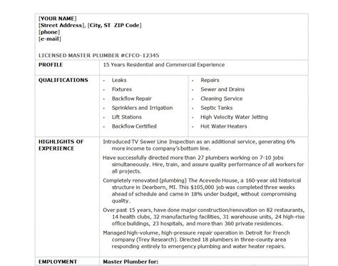 Plumber Resume Template by Plumber Resume Template Plumber Resume