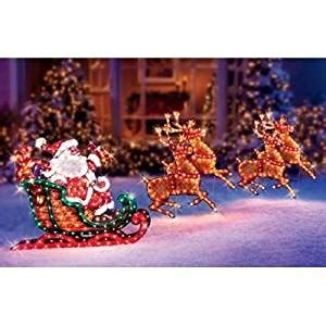 christmas holographic decorations lighted holographic santa sleigh and deer decoration home kitchen