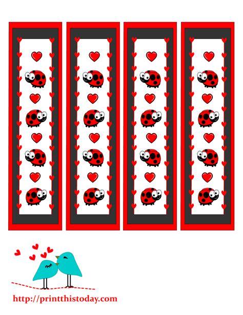 printable ladybug bookmarks valentine bookmarks to print