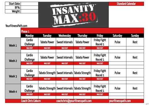 Calendario Max Insanity Max 30 Workout Calendar Your Fitness Path