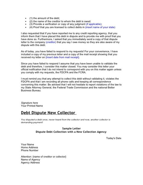 Confirmation Credit Letter Credit And Debt Dispute Letters
