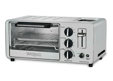 Waring Toaster Oven With Toaster waring pro stainless steel toaster oven with built in 2 slice toaster cutlery and more