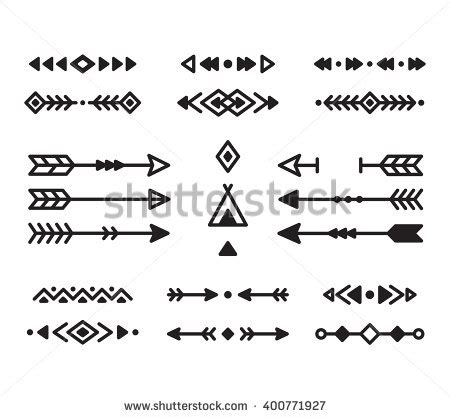 native american indian design elements set borders
