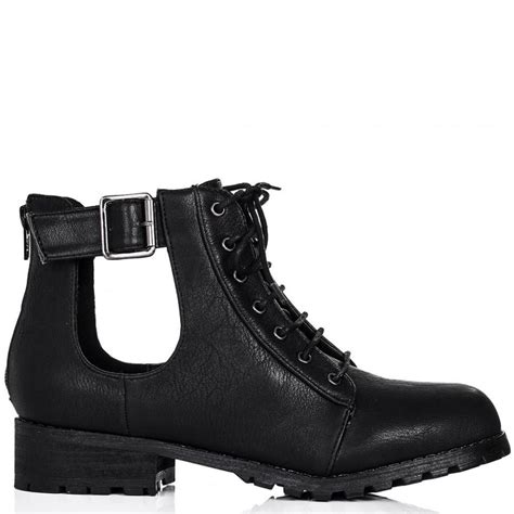 Cut Out Boots by Buy Strung Flat Cut Out Biker Ankle Boots Black Leather