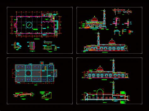 design masjid autocad mosque plans and all cad file details