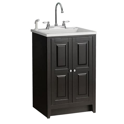 utility tub with cabinet shop foremost casual plastic utility tub in 23 7 8 quot espresso cabinet at lowes