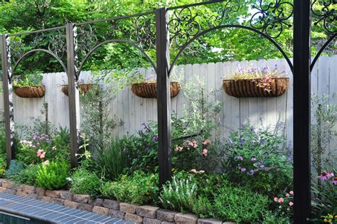 Planters For Wrought Iron Railings by Planter Fence Landscape Modern With Wood Fence Wood Fence Wood Fence