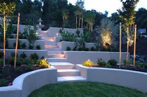 steep backyard landscaping garden ideas