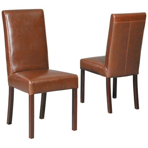 Leather Parson Dining Chairs by Leather Parsons Chair Set Of 2 At Hayneedle