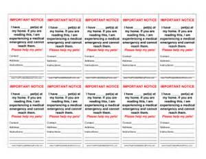 Alert Wallet Card Template by Printable Pet Emergency Wallet Card
