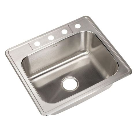 Top Mount Kitchen Sinks Stainless Steel Glacier Bay Top Mount Stainless Steel 25 In 4 Single Bowl Kitchen Sink Hdsb252264 The