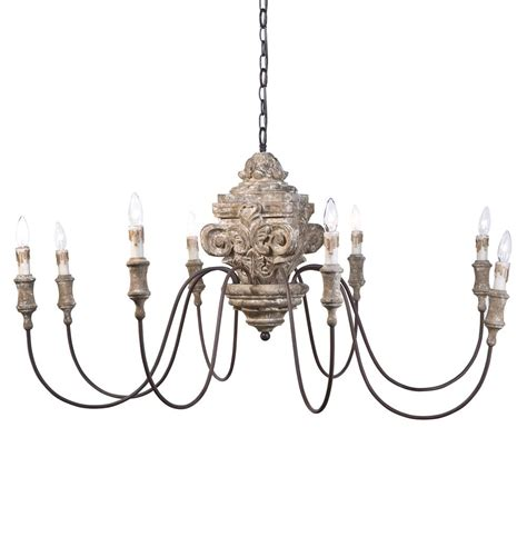 Ravel French Country Carved Wood 8 Light Chandelier Country Wooden Chandeliers