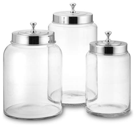 Kitchen Glass Canisters Glass Canister Contemporary Kitchen Canisters And Jars